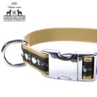 DOG COLLAR - TINY HORSES CRAZY NUMBERS ON DARK BROWN